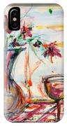 Italian Wine And Flower Vase On Table IPhone Case