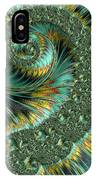 Jade And Yellow Fractal Spiral IPhone Case