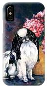 Japanese Chin And Hydrangeas IPhone Case