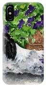 Japanese Chin Puppy And Petunias IPhone Case