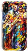 Jazz Band - Palette Knife Oil Painting On Canvas By Leonid Afremov IPhone Case