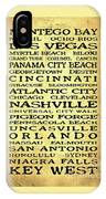 Jimmy Buffett Margaritaville Locations Black Font On Yellow Brown Texture IPhone Case