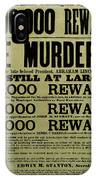 John Wilkes Booth Wanted Poster IPhone Case