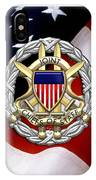 Joint Chiefs Of Staff - J C S Identification Badge Over U. S. Flag IPhone Case