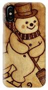 Joyful Snowman  Coffee Paintings IPhone Case