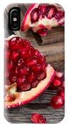 Juicy Ripe Pomegranates On Vintage Wood  IPhone Case