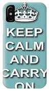 Keep Calm And Carry On Poster Print Teal Background IPhone Case