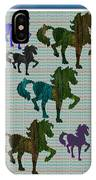 Kids Fun Gallery Horse Prancing Art Made Of Jungle Green Wild Colors IPhone Case