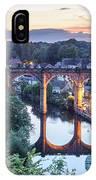 Knaresborough Viaduct Floodlit At Dusk IPhone Case