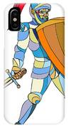 Knight Full Armor With Sword Defending Mosaic IPhone Case