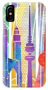 Kuwait City Landmarks Watercolor Poster IPhone Case