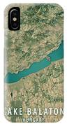 Lake Balaton 3d Render Satellite View Topographic Map IPhone Case