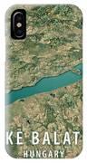 Lake Balaton 3d Render Satellite View Topographic Map Horizontal IPhone Case