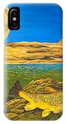 Landscape Art Fish Art Brown Trout Timing Bull Elk Full Moon Nature Contemporary Modern Decor IPhone Case