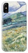 Landscape From Saint Remy At Wheat Fields  Van Gogh Series   By Vincent Van Gogh IPhone Case