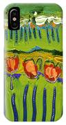 Landscape In Green And Orange IPhone Case by Jennifer Lommers