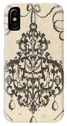 Large Pendant, Two Winged Fantasy Creatures With Trumpets At Bottom IPhone Case