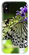 Large Tree Nymph Polinating Dainty Purple Flowers IPhone Case