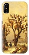 Leickert Charles Skaters In A Frozen Winter Landscape IPhone Case