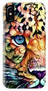 Leopard Cat Flowers IPhone Case