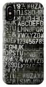 Letters And Numbers Grey On Black IPhone Case