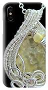 Libyan Desert Glass Meteorite Impactite Pendant In Sterling Silver With Ethiopian Opals Ldgpss11 IPhone Case