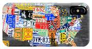License Plate Map Of The Usa On Gray Distressed Wood Boards IPhone X Case