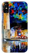 Lighthouse In Crete - Palette Knife Oil Painting On Canvas By Leonid Afremov IPhone Case