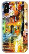 Little Street - Palette Knife Oil Painting On Canvas By Leonid Afremov IPhone Case