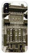 Liverpool Chinatown Arch, Gate Sepia IPhone Case