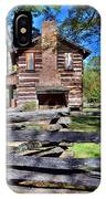 Log Cabin And Wooden Fence At Ninety Six National Historic Site 2 IPhone Case