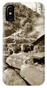 Logging With Oxen At A Saw Mill Sonoma County California Circa 1900 IPhone Case