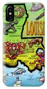 Louisiana Cartoon Map IPhone Case
