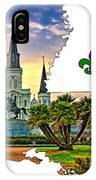Louisiana Map - St Louis Cathedral IPhone Case
