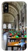 Main Reading Room Of Boston Public Library IPhone Case