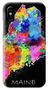 Maine Map Color Splatter 2 IPhone Case