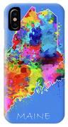 Maine Map Color Splatter 3 IPhone Case