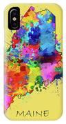 Maine Map Color Splatter 4 IPhone Case