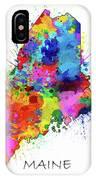 Maine Map Color Splatter IPhone Case