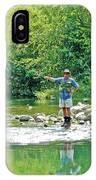 Man Fly Fishing In Canyon Creek Near Winters-california IPhone Case