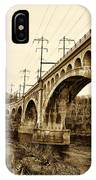 Manayunk Bridge Across The Schuylkill River In Sepia IPhone Case