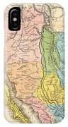 Map Of California New Mexico Texas  1849 IPhone Case