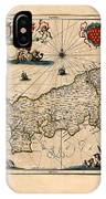 Map Of Cornwall 1646 IPhone Case