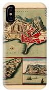 Map Of Gibraltar 1706 IPhone Case