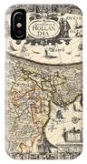 Map Of Holland 1630 IPhone Case