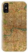 Map Of London England United Kingdom Vintage Street Map Schematic Circa 1899 On Old Worn Parchment  IPhone Case