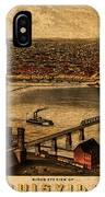 Map Of Louisville Kentucky Vintage Birds Eye View Aerial Schematic On Old Distressed Canvas IPhone Case