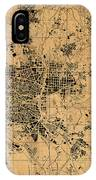 Map Of Madrid Spain Vintage Street Map Schematic Circa 1943 On Old Worn Parchment  IPhone Case
