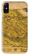 Map Of Nebraska 1954 Omaha Cornhusker State Aerial View Illustration Cartography On Worn Canvas IPhone Case