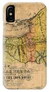 Map Of New York State Showing Original Indian Tribe Iroquois Landmarks And Territories Circa 1720 IPhone Case